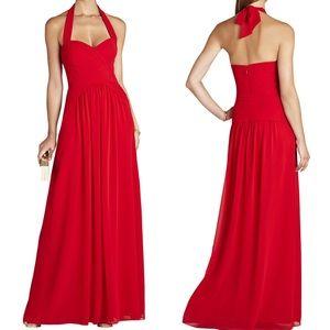 BCBGMaxazria Red Selene Halter-Neck Ruched Gown